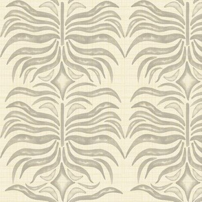 Cream Gray Abstract Monstera Leaf