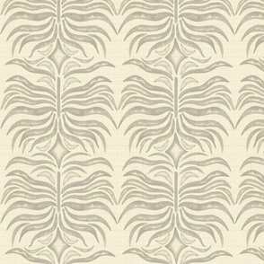 19-13a Neutral Cream Ivory Gray Abstract Monstera Leaf Home Decor Large