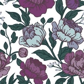 Chintz floral in periwinkle