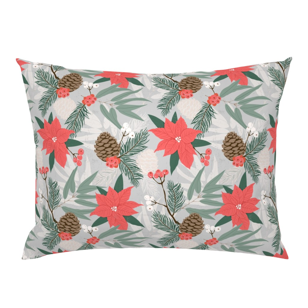 Campine Pillow Sham featuring Winter Poinsettias with Berries and Pinecones by sobonnydesigns