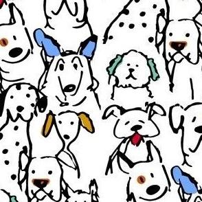 Color Pop Doodle Dogs - Smallest Repeat Black Outline