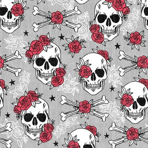 red black and white skulls with flowers