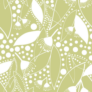 Shirley's Australiana Quilt - white on sage green, X-Large
