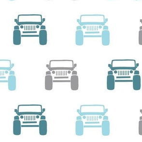 Jeepin - teal and grey