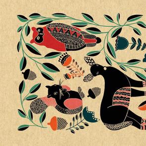 Folk Art Woodland Animals - Tea Towel