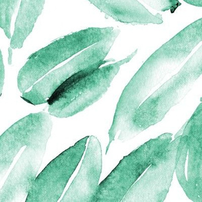Emerald nature delight • watercolor leaves