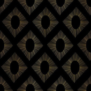 Golden Art Deco Rhombus Pattern