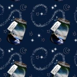 Camping Jar Reach for the Stars - NAVY - Mason Jar with Stars MED