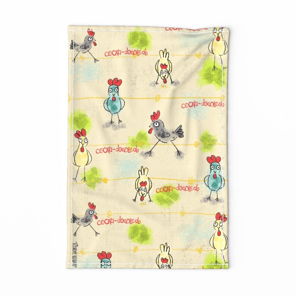 Special Edition Spoonflower Tea Towel featuring CockadoodleDotowel by dawndsokol