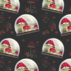Magical Mushrooms Autumn Toadstools with Snail, Snow Globe MED