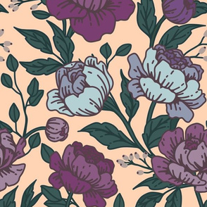 Chintz floral periwinkle on peach