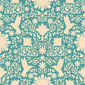 Fairytale Hummingbirds - Cream and blue