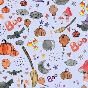 Spooky Halloween Watercolor pattern purple