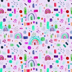 Watercolor cute colorful rainbow pattern