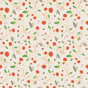 Pattern with acorns, flowers and autumn oak leaves beige