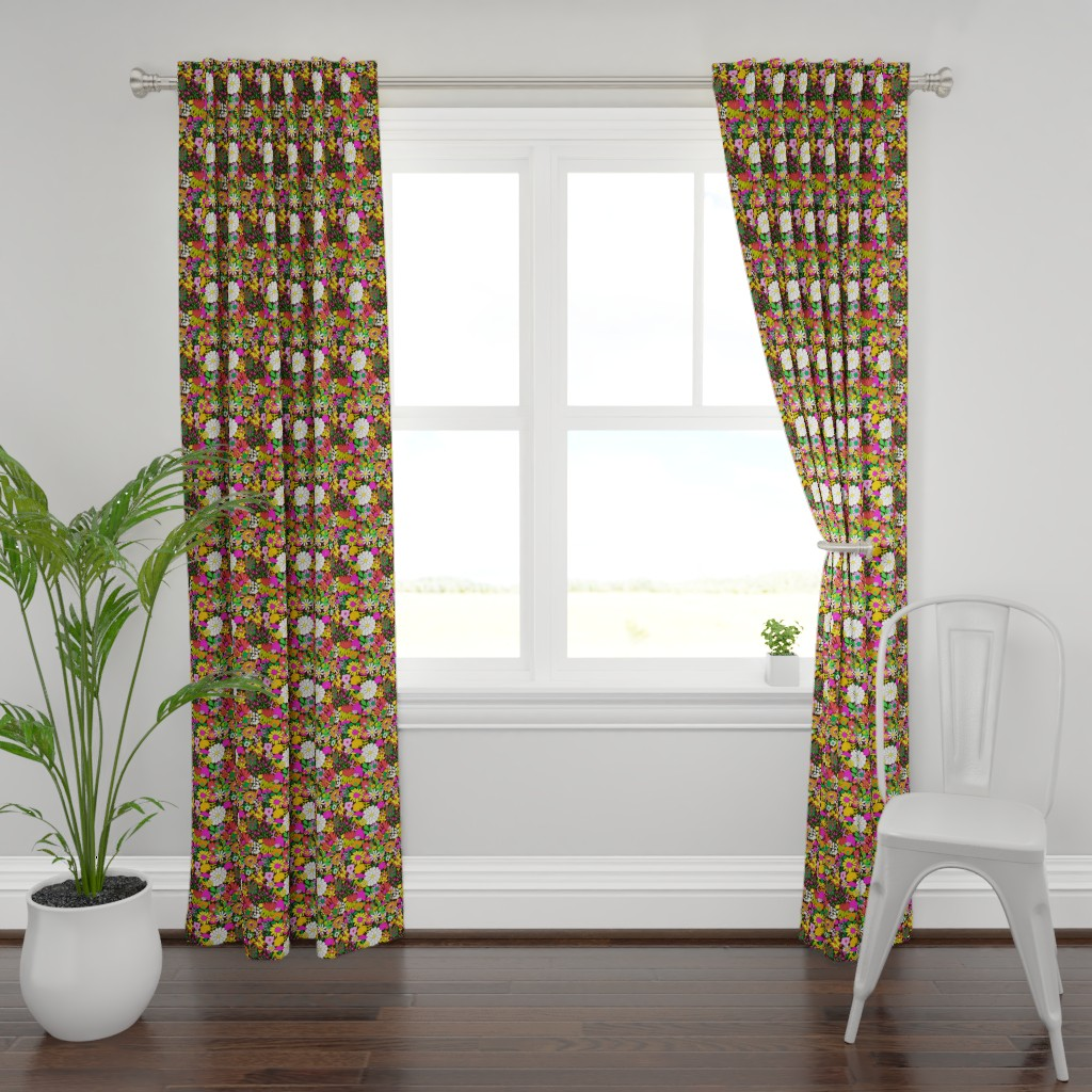 Plymouth Curtain Panel featuring Smaller Scale - 60's Groovy Garden in Chocolate Brown by elliottdesignfactory
