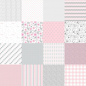 baby girl patchwork blanket in soft pink grey white