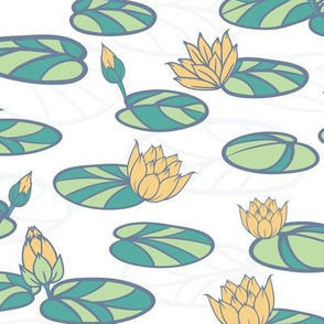 Water Lilies in Swan Pond seamless pattern background.