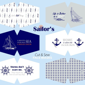 Sailor's Face Masks Blue grey white sailboats anchors wheels knots