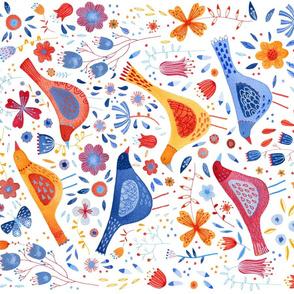 Birds in a Garden Tea Towel