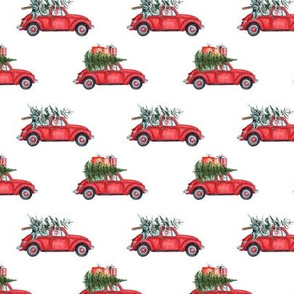 "3"" Holiday Christmas Tree Car and dachshund in Woodland, christmas fabric,dachshund dog fabric 3"