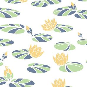 Vintage Water Lilies in Swan Pond seamless pattern background.