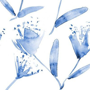 Magic flowers • indigo • larger scale watercolor blue florals