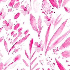 Scandi bloom • hot pink • watercolor florals