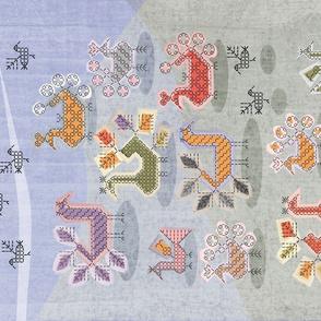 Karelian Chicken Run embroidery tea towel