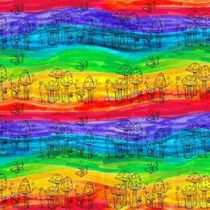 Rainbow Stripes and Mushrooms
