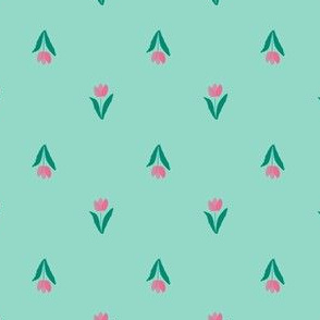 Field of Tulips in Seafoam and Pink