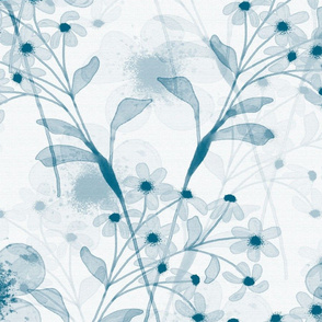 Large Navy and White Transparent Floral