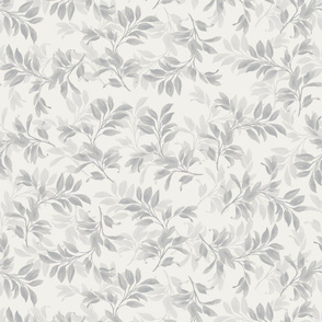Fiona Tossed Leaves- Grey and Ivory