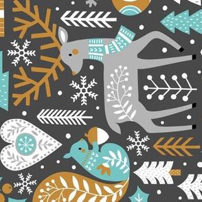 Scandinavian Christmas / Dark Grey / Extra Large Scale / Rotated
