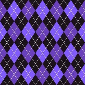 Halloween dashed argyle purple, black Fabric
