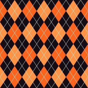 Halloween dashed argyle orange, black Fabric