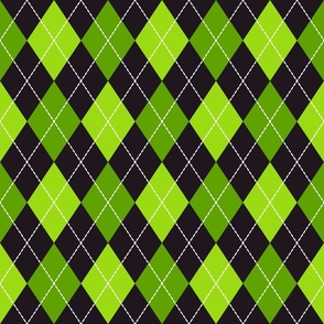 Halloween dashed argyle green, black Fabric