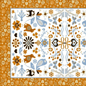 folk art blue orange border
