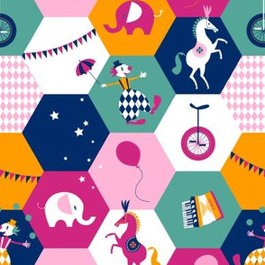 circus hexagons - pink-turquoise