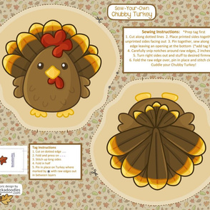 sew-your-own chubby turkey stuffies