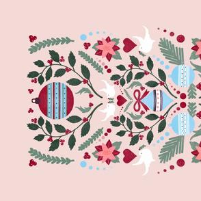 Peachy Christmas Tea Towel