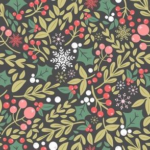 Botanical Christmas winter pattern