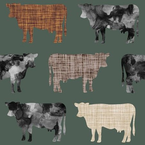 177-12 // watercolor cows + mocha, caramel, 13-2