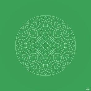 M08 embroidery medallion white 0.8pt on green 3BA058