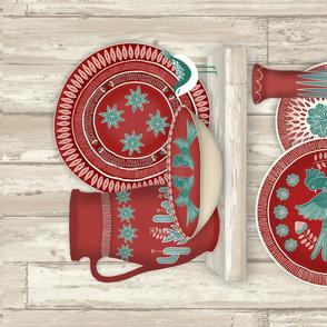 Rustic Folk Art Pottery Tea Towel