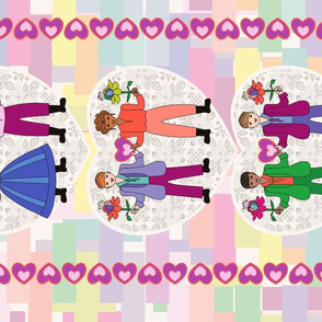 Love is love! Gay pride folk art tea towel