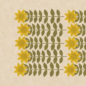 Folksy Sunflowers tea towel