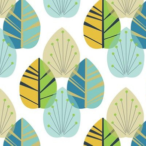 Mid-Century Modern Leaves Yellow