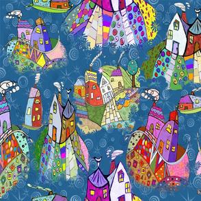 Folk Art Houses In A Starry Sky