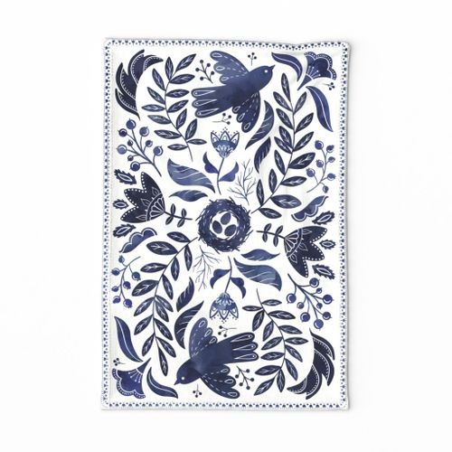 Folksy birds tea towel (indigo)